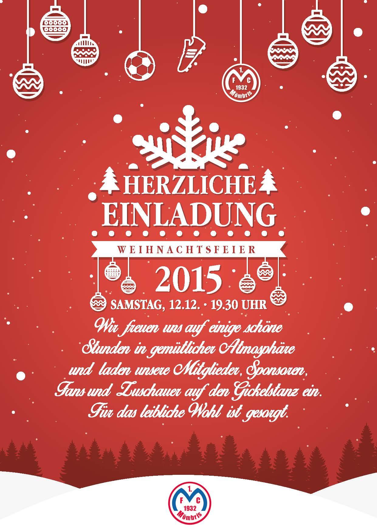 Einladung Zur Weihnachtsfeier.Einladung Zur Weihnachtsfeier 1 Fc Mombris 1932 E V